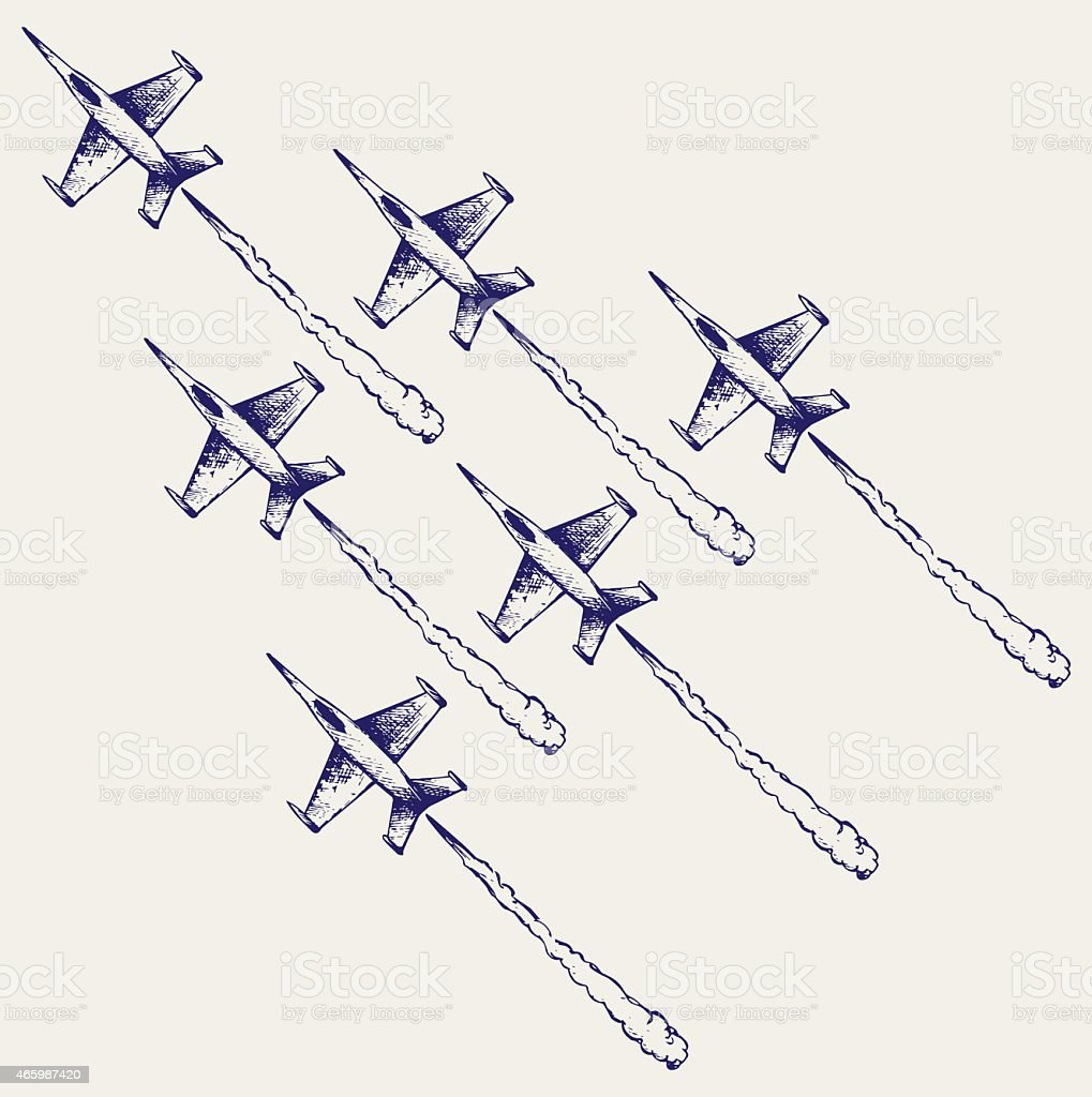 Drawing of squadron flying emitting smoke from tail vector art illustration