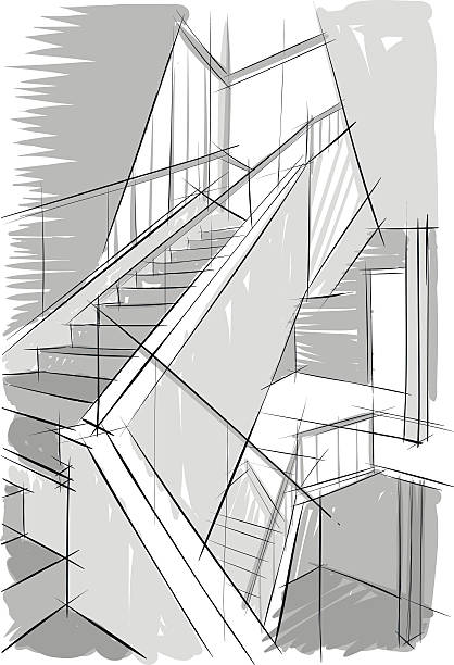 Drawing of stairs. vector art illustration