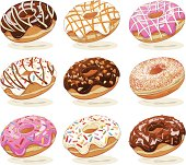 Set of hand drawn vector illustration of delicious sweet donuts with toppings of various tastes. Strokes are expanded.