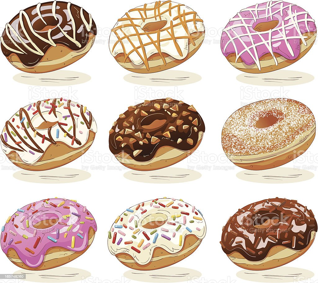 Drawing Of Sweet Donuts With Topping On White Background vector art illustration