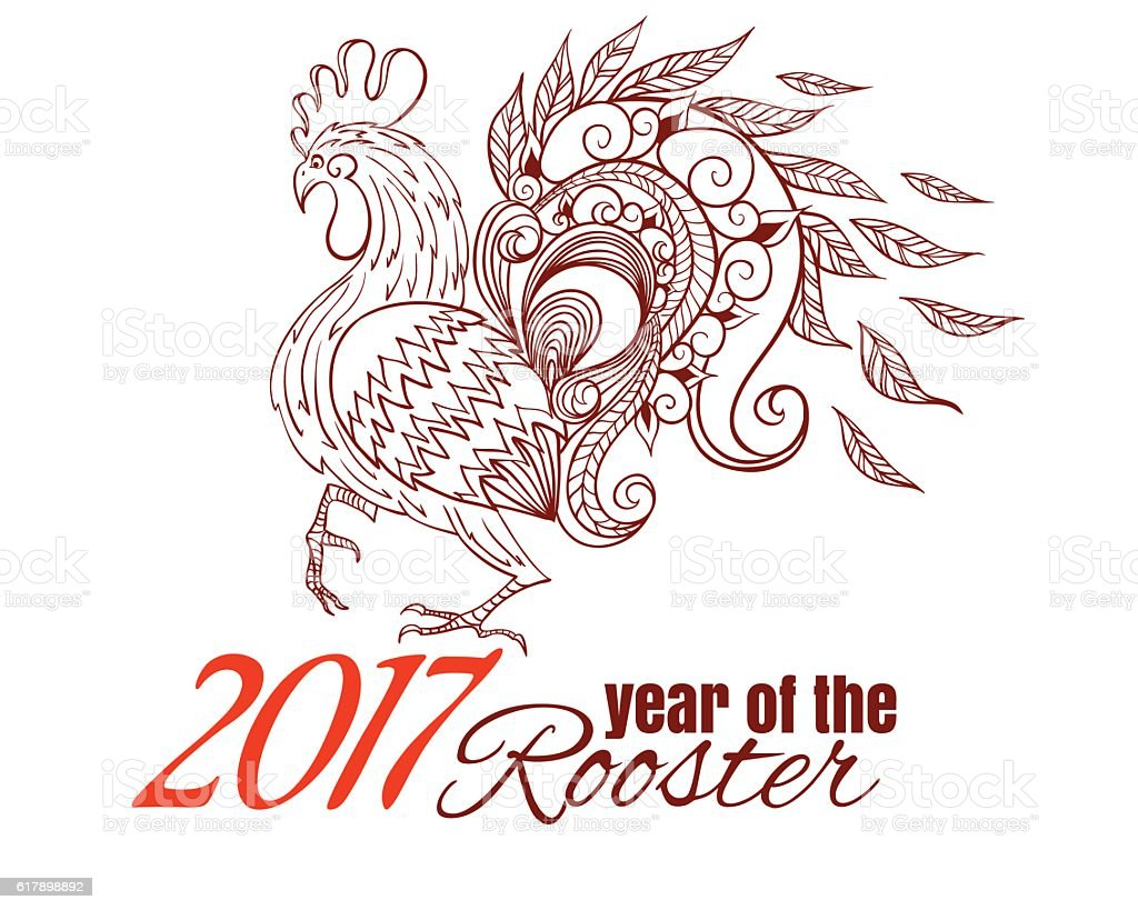 Drawing of the chinese new year symbol of rooster stock vector art drawing of the chinese new year symbol of rooster royalty free drawing of the chinese buycottarizona Gallery