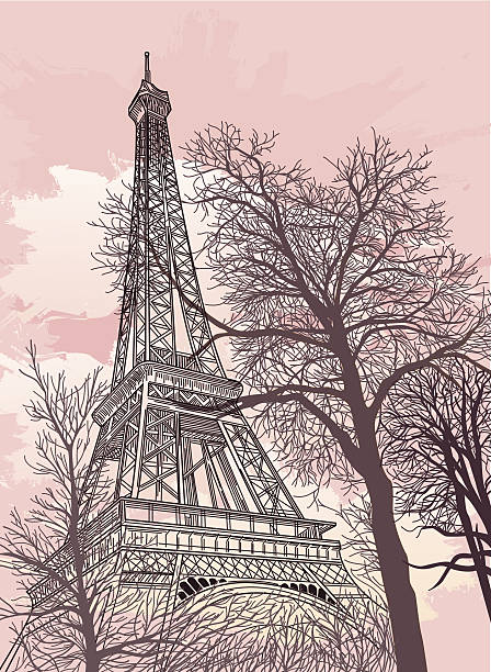 Drawing of the Eiffel Tower with a pink sky and trees vector art illustration
