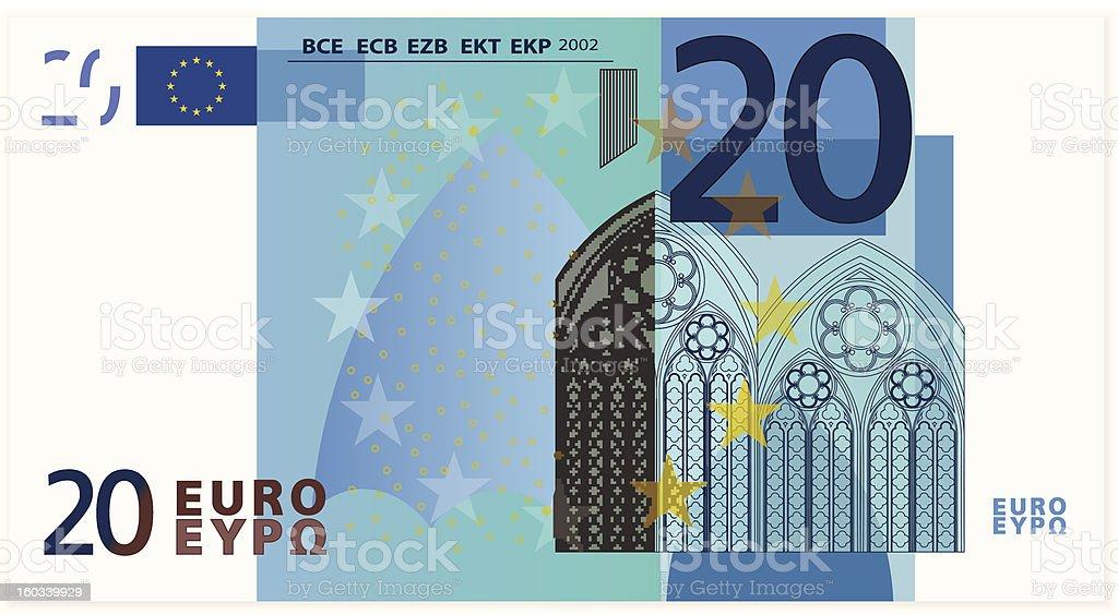 Drawing of the twenty Euro bank note  vector art illustration