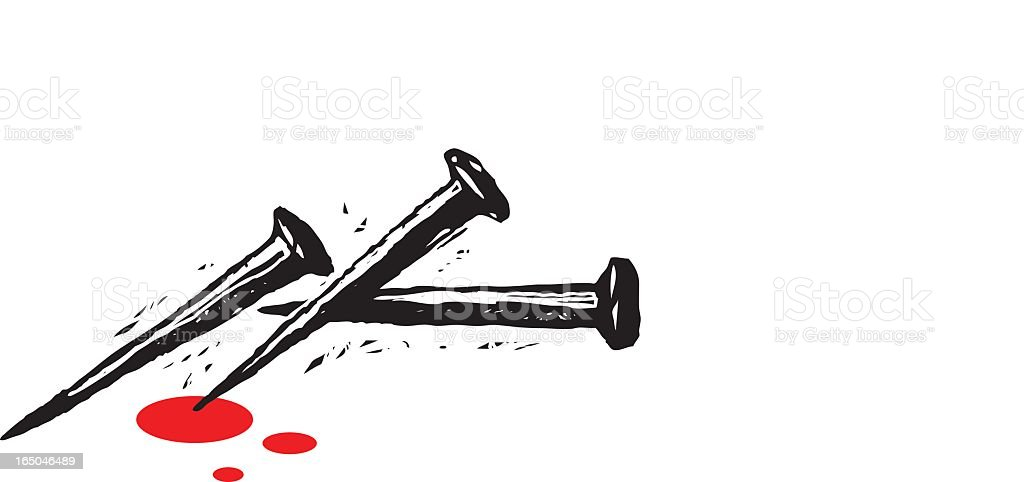Drawing of three black nails with red drops over white vector art illustration