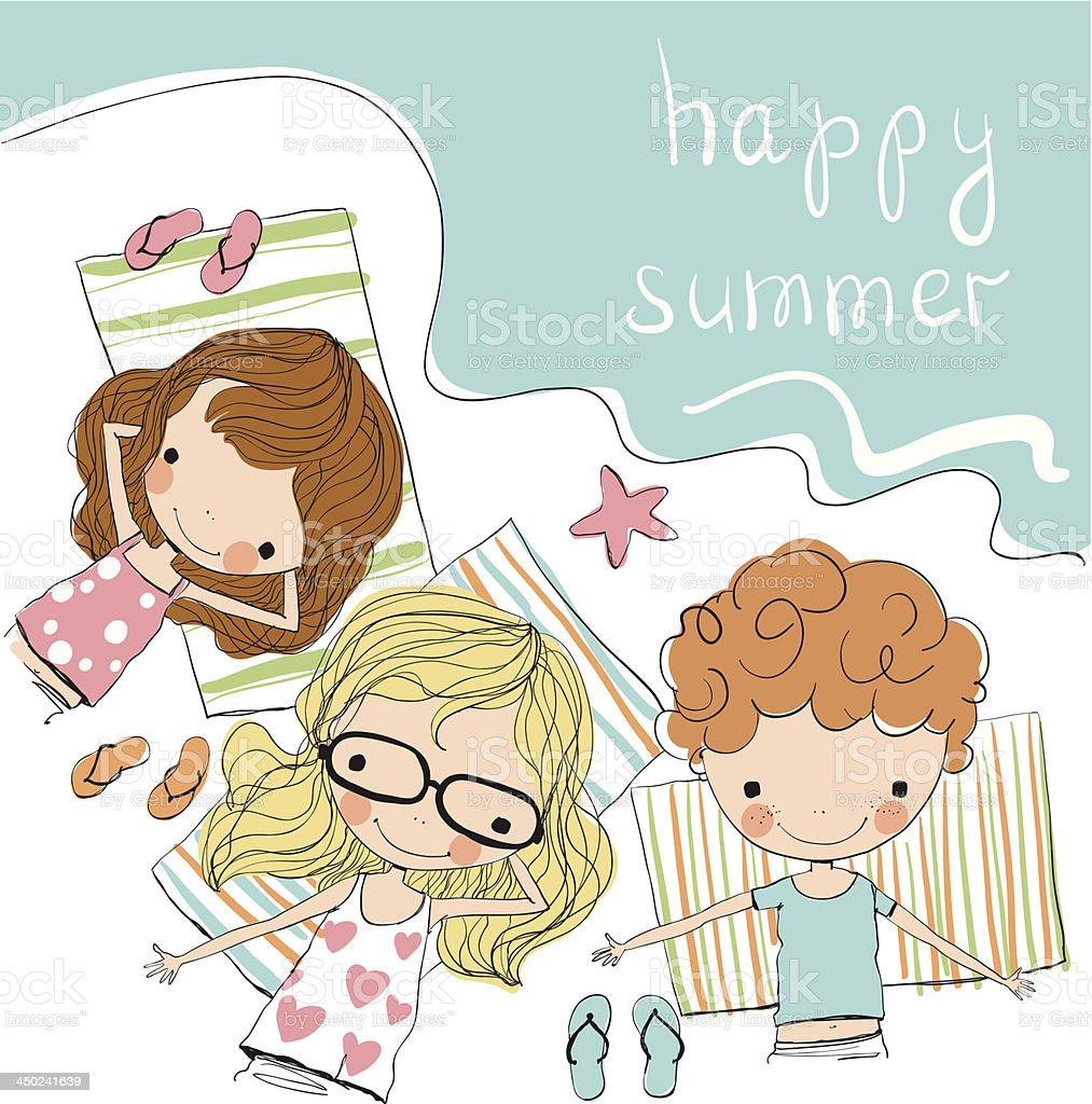 Drawing of three kids on a beach with happy summer written royalty-free stock vector art