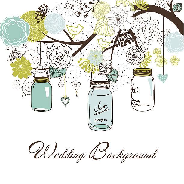 Drawing of three mason jars hanging from a tree vector art illustration
