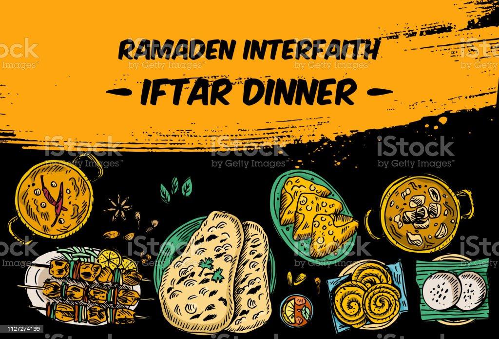 Dessin de repas de l'Iftar vue de dessus sur la table, vecteur - Illustration vectorielle