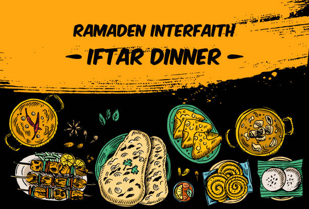 drawing of top view iftar dinner on the table, vector - indian food stock illustrations, clip art, cartoons, & icons