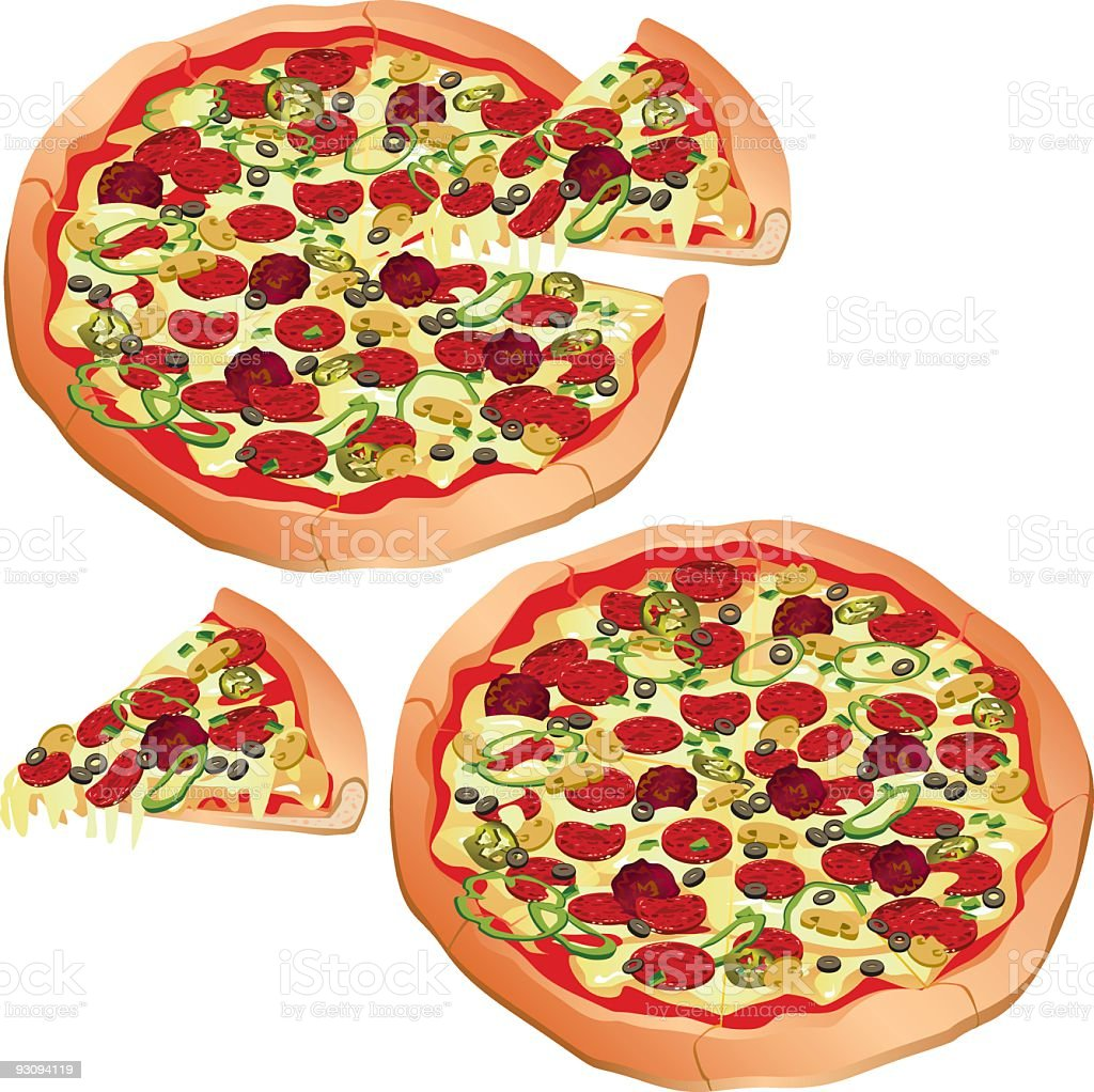 Drawing of two big pans pizza on white background royalty-free stock vector art