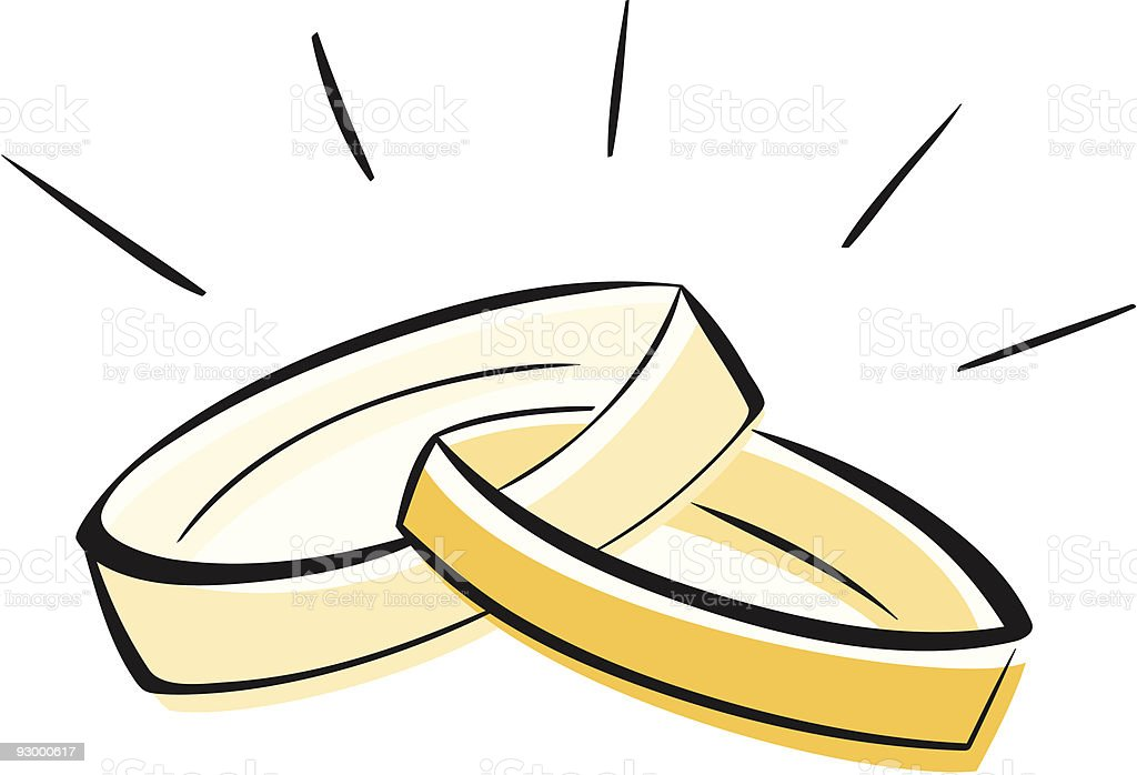 A drawing of two gold wedding rings linked together vector art illustration