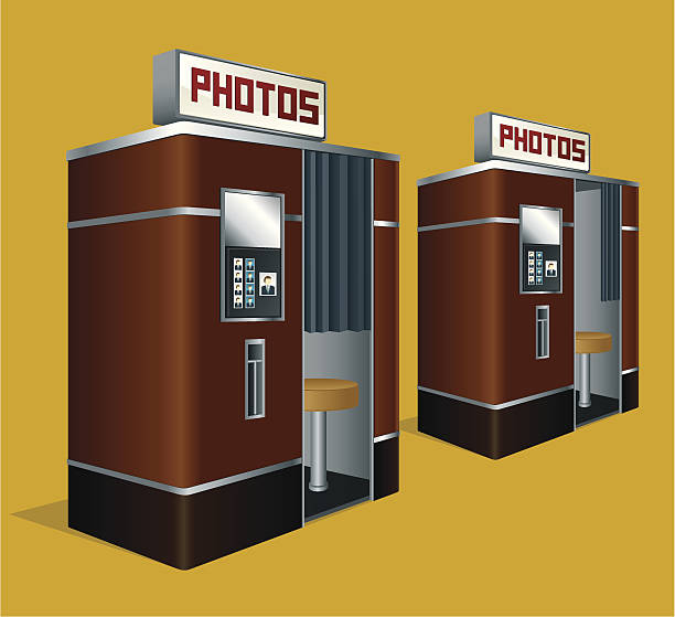 drawing of two retro looking photo booths - photo booth stock illustrations, clip art, cartoons, & icons