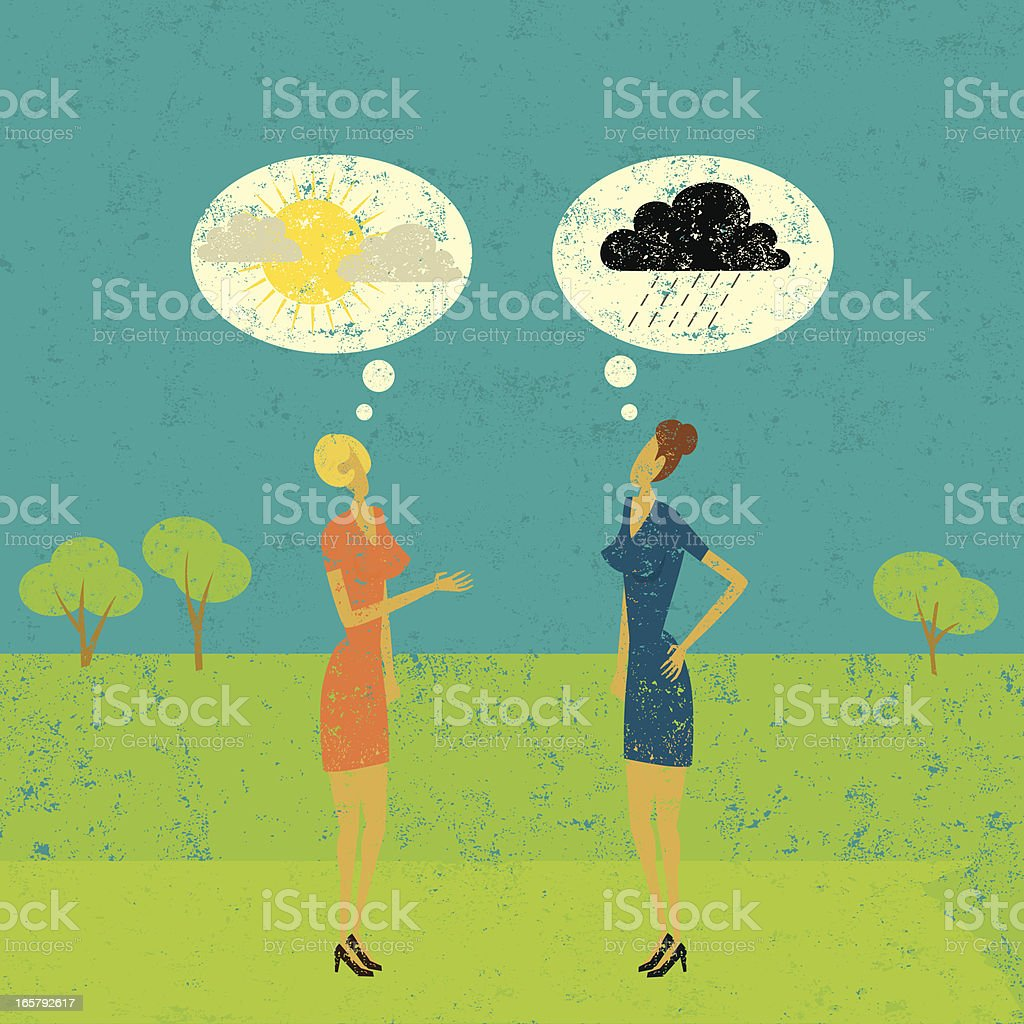 Drawing of two women with positive and negative predictions vector art illustration
