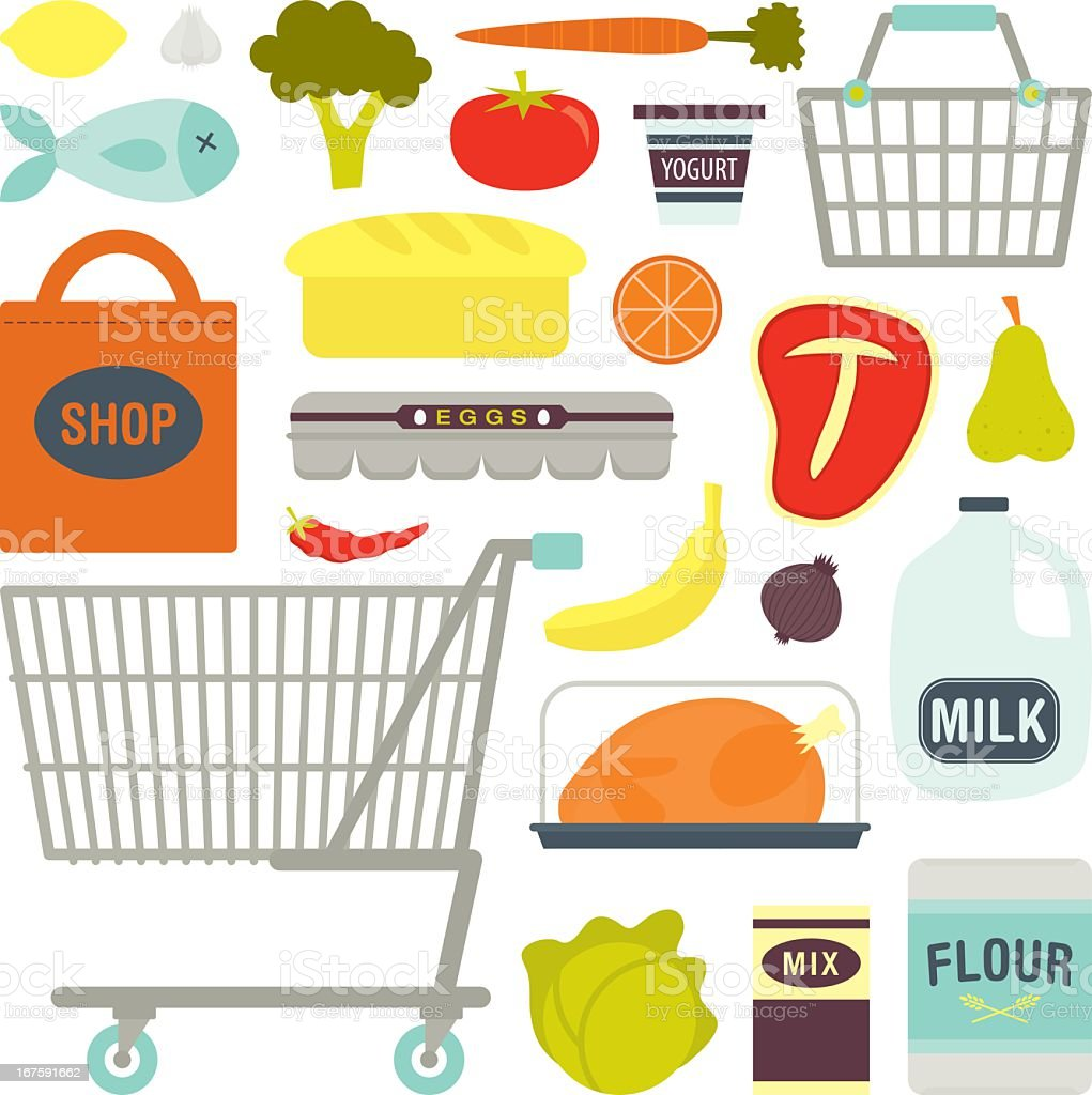 Drawing of various common supermarket shopping items vector art illustration