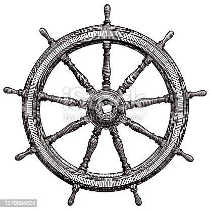 istock Drawing of vintage ship steering wheel 1270934325