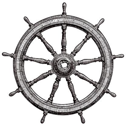 Drawing of vintage ship steering wheel