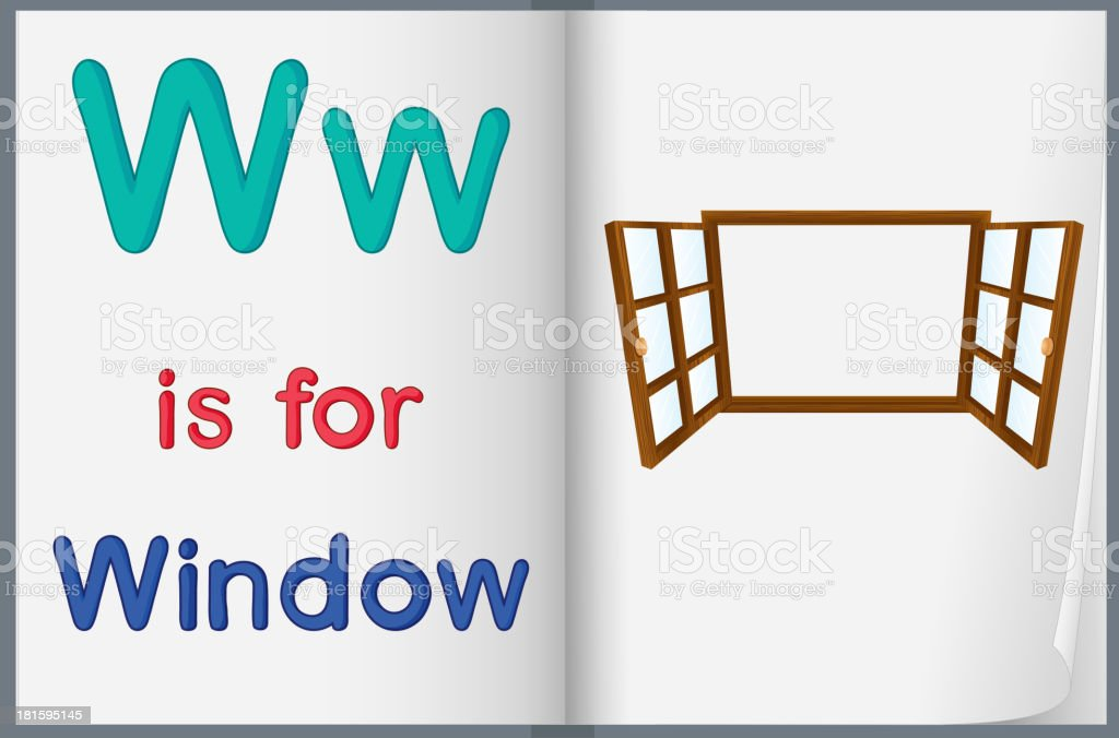 drawing of window on a book royalty-free stock vector art