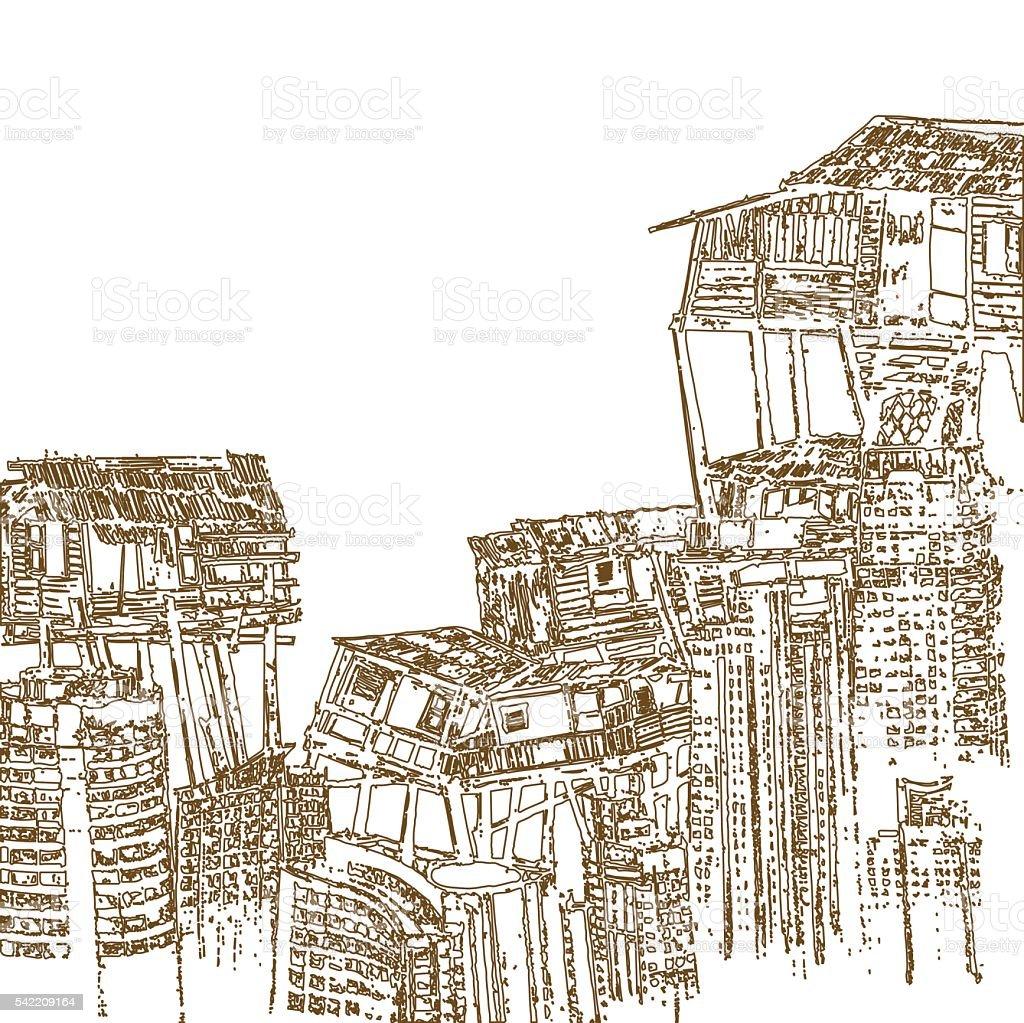 Disegno Di Una Casa In Legno Costruzione In Alto Su Sfondo Bianco