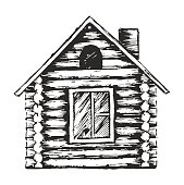 istock Drawing of wooden house. 517569270