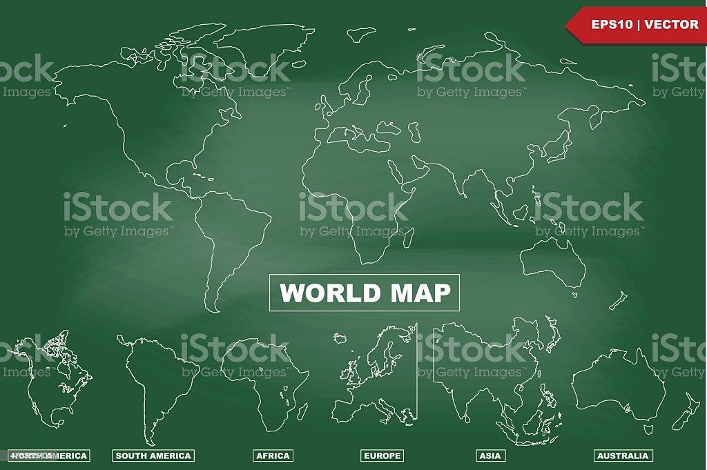 Dibujo Mapa Del Mundo Continentes.Ilustracion De Dibujo Mapa Del Mundo En Pizarra Y