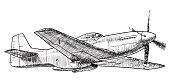 Vector, black and white illustration of American fighter plane - Mustang