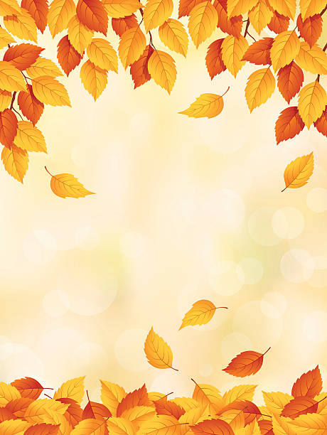 Drawing of yellow to red leaves falling in autumn Autumn background with leaves falling. fall background stock illustrations