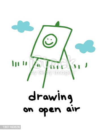 istock Drawing on open air. Plein air painting outdoors on an easel. Hand drawn sketch. Vector cartoon colored illustration. 1301160526