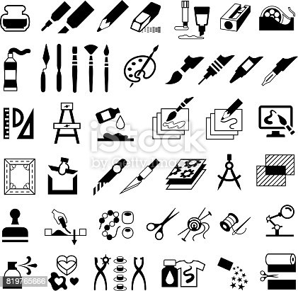 Single colour black isolated icons of art and craft products