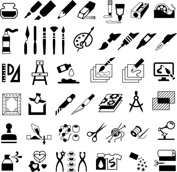 Drawing, Painting, Art and Craft Icons Single colour black isolated icons of art and craft products hobbies stock illustrations
