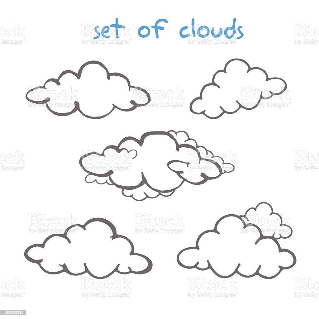 Drawing pencil of clouds stock vector art more images of abstract
