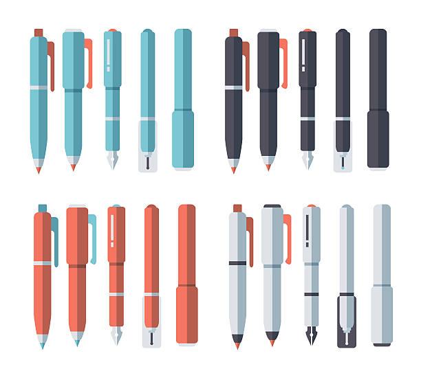 ilustrações de stock, clip art, desenhos animados e ícones de & conjunto de canetas para desenho a lápis - caneta