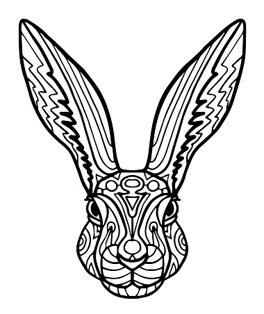 Drawing  rabbit for coloring page, shirt design effect, , tattoo and decoration. Collection of animals.