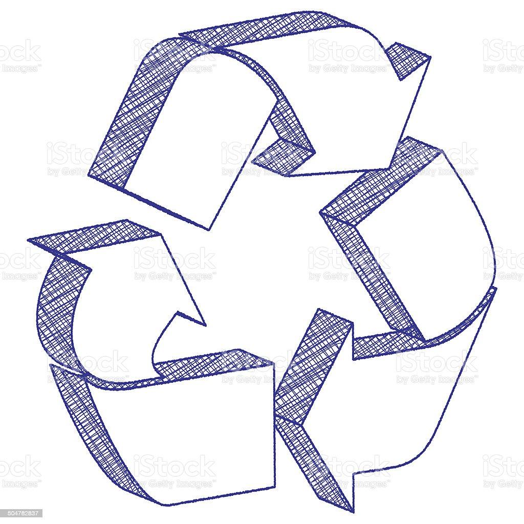 ilustração de 3 d desenho símbolo de reciclagem e mais banco de