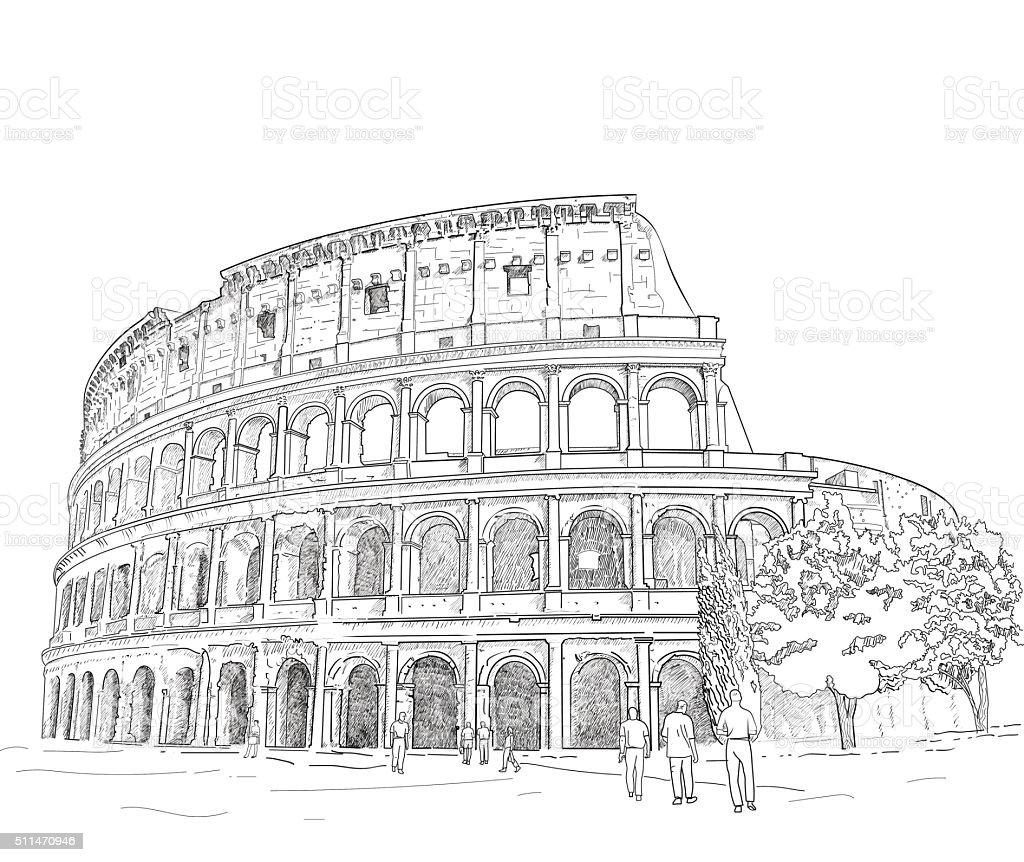 Ilustración De Dibujo Romano Coliseo Y Más Vectores Libres De