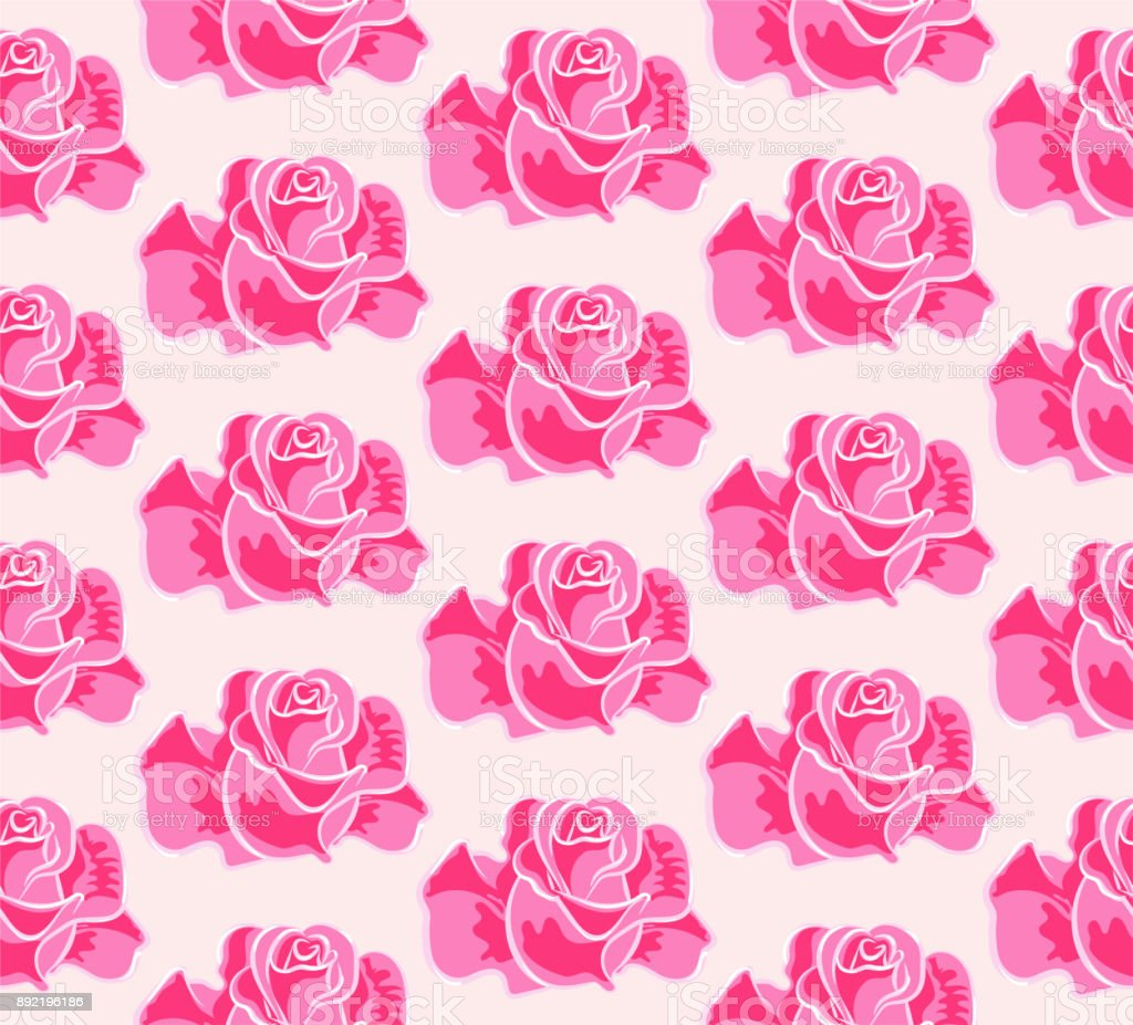 Drawing Rose, Seamless Pattern vector art illustration