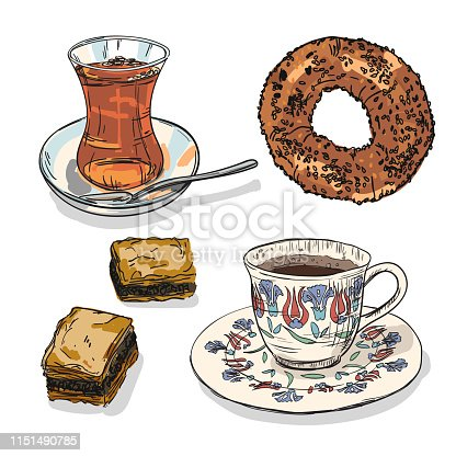 Drawing national turkish food with coffee, tea cup, simit and baklava. Hand drawn traditional turkey bavarages and bages.