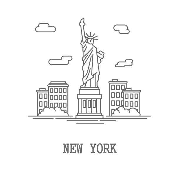 Drawing silhouette New York City vector art illustration
