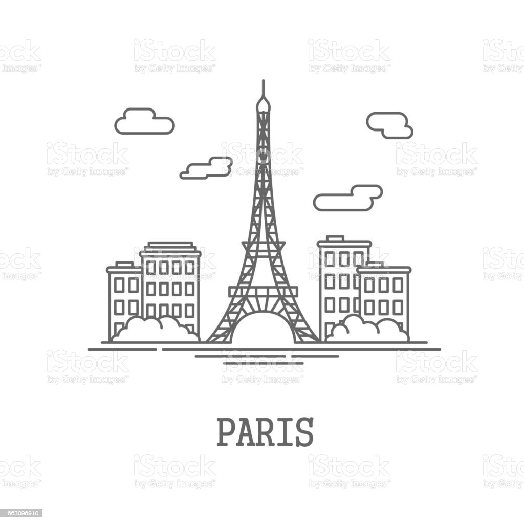 Drawing silhouette the city of Paris