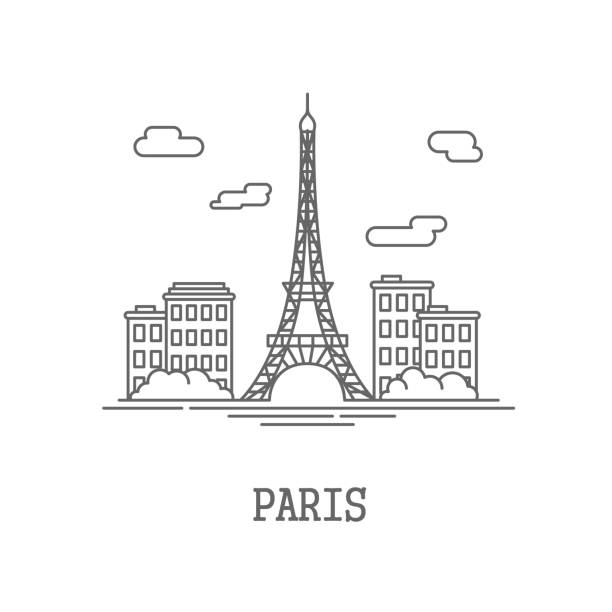 Drawing silhouette the city of Paris Drawing silhouette the city of Paris. Vector illustration eiffel tower stock illustrations
