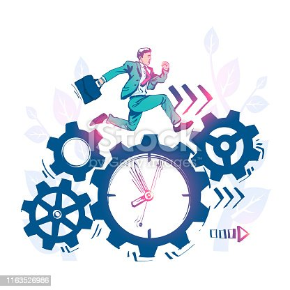 Drawing sketch time management, control. Vector illustration cartoon design. Isolated on background. Businessman run along gear in form of clock. Organization of process.