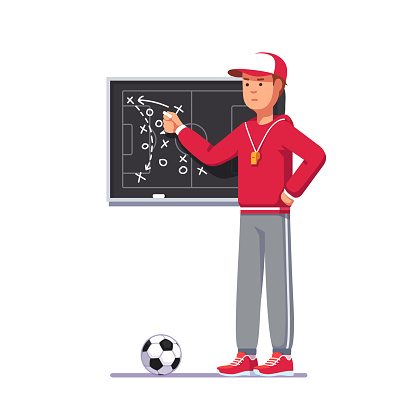 Drawing soccer match analysis scheme. Football game strategy playbook. Soccer coach man showing game plan on chalk board, teaching game tactics & instructing team. Flat style vector clipart