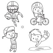 Vector drawing sport kids