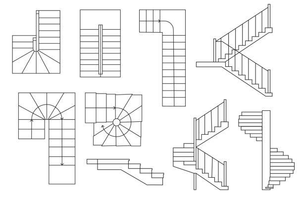 zeichnung treppe, treppe. . obere ansicht und schnittansicht. architektur-set - treppe stock-grafiken, -clipart, -cartoons und -symbole