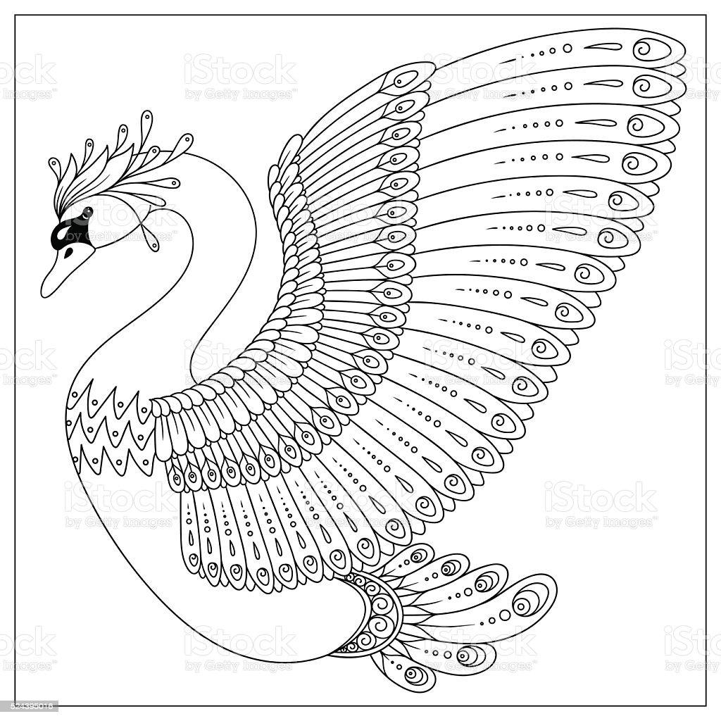 Ilustración De Dibujo Cisne Para Colorear Página Y Más Vectores