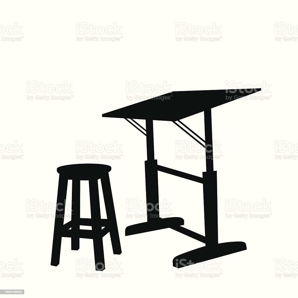 Drawing Table Vector Silhouette royalty-free stock vector art