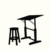 Drawing Table Vector Silhouette