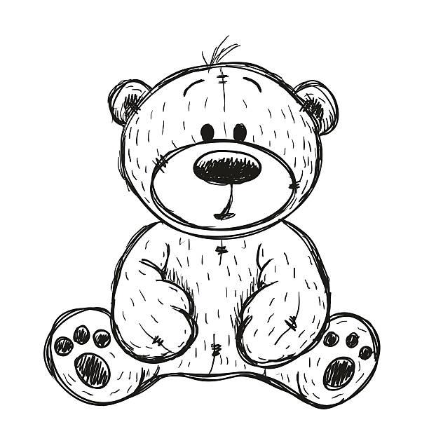 ilustrações de stock, clip art, desenhos animados e ícones de drawing teddy bear - teddy bear
