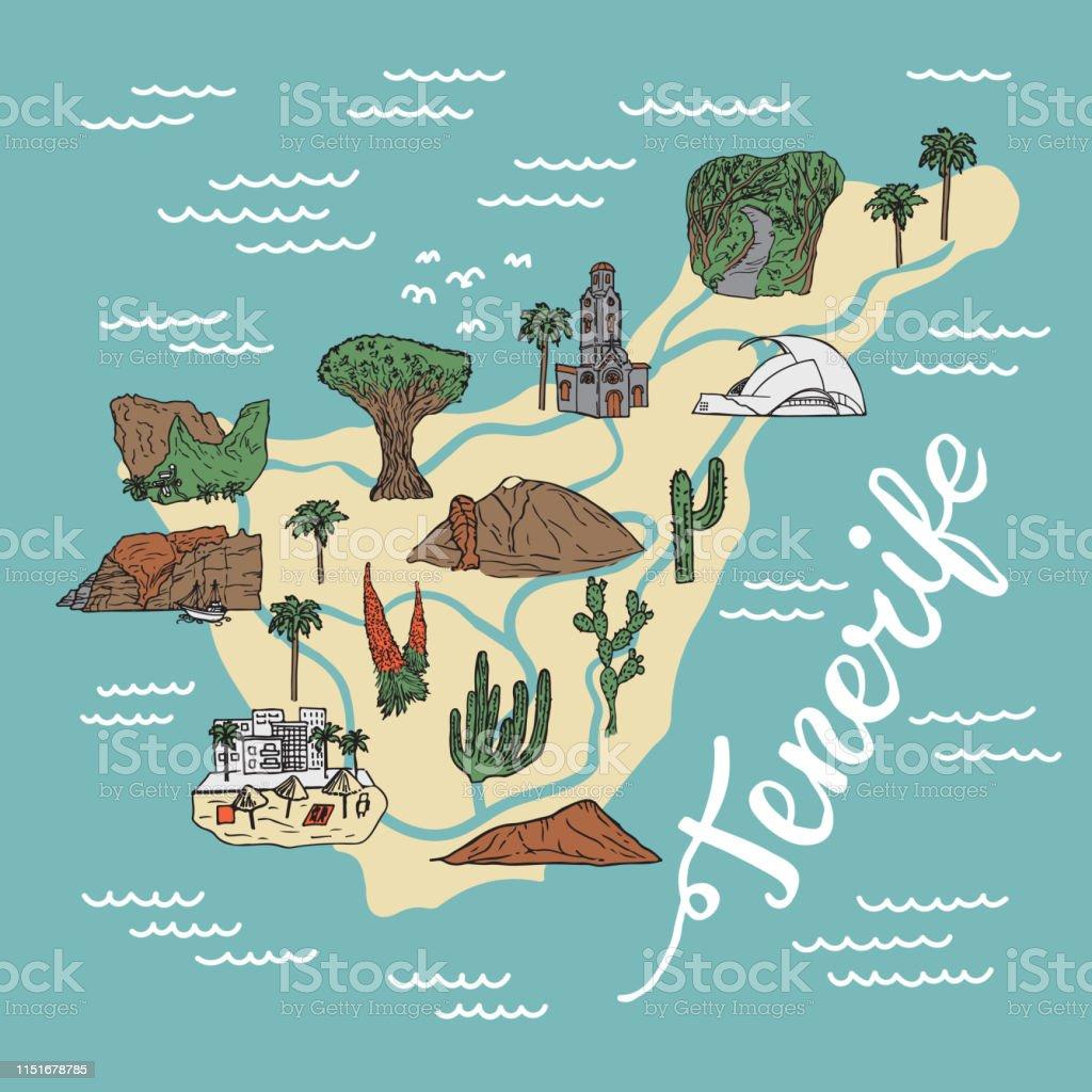 Teneriffa Karte Spanien.Karte Auf Teneriffa Stock Vektor Art Und Mehr Bilder Von Besuchen