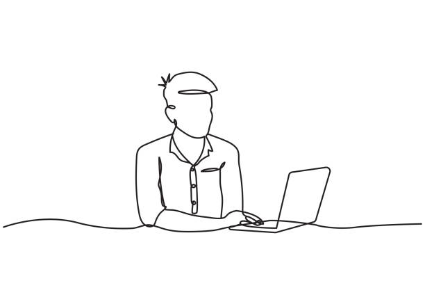 Drawing the Continuous Line of Business man Watching a Laptop Computer Drawing the Continuous Line of Business man Watching a Laptop Computer contour drawing stock illustrations
