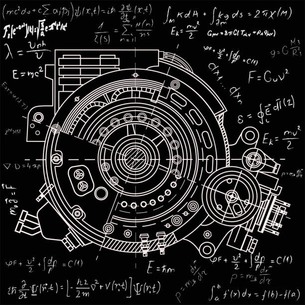 drawing the electric motor section representing the internal structure and mechanisms. it can be used to illustrate the ideas related to science, engineering design and high-tech - formula 1 stock illustrations