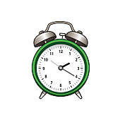Drawing the flat design of clock into a white background for assembling or creating teaching materials for moms doing homeschooling and teachers searching for pictures for teaching materials such as flashcards or Children's books.